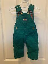 Vintage Oshkosh B'Gosh Boys Green Corduroy Flannel Lined Overalls Size 12 Months