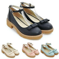 Cute Womens Round Toe Bowknot Ankle Strap Lolita Flat Girls Preppy Casual US4-11