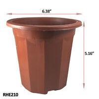8 Pcs Diameter 6.38 inch Brick Red Sturdy Plastic Pot For Nursery Planter