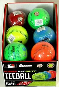 New Franklin Sports Probrite Neon Rubber TeeBall 4 (FOUR) Balls __S170