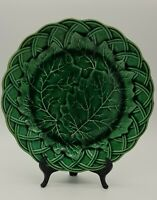 Antique Wedgwood Majolica Grape Leaves and Basketweave Pattern Plate Circa 1860.