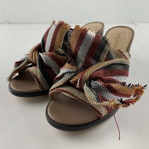 Nine West Byron Size 7.5 M Open Toe Mules Sandals Knotted Fabric Red Multi