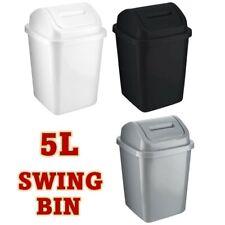 More details for 5l plastic bin swing top lid waste paper bathroom kitchen home office basket uk