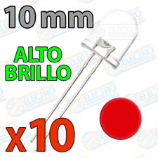 10x LED 10mm ROJO Alto Brillo Ultra ultrabright 20mA diodo diode red