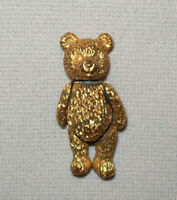 Old Vtg Ca 1980s Fully Jointed Brass Teddy Bear Pin Brass Really Adorable