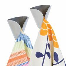 mDesign Metal Adhesive Wall Mount Kitchen Hand Towel Hanger, 2 Pack - Brushed