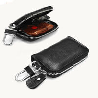 Black Universal Car PU Leather Smart Remote Key Fob Holder Bag Case Zipper NEW