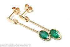 9ct Gold Oval Emerald long drop Earrings Gift Boxed