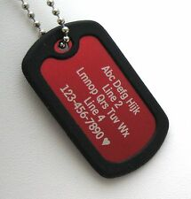 PERSONALIZED Dog Tag Necklace VERTICAL Wording - RED with Black Silencer