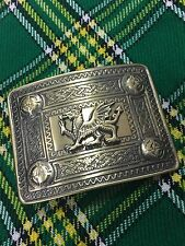 Kilt Belt Buckle Celtic Welsh Dragon Antique Finish/Welsh Dragon Emblem Buckle