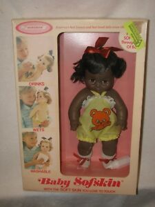 """Vintage 14"""" Black Baby Softskin Doll By Horsman Dolls In The box"""