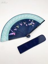 Korean Handicraft Printing Silk Mother of pearl Folding Hand Fan with Case -1set