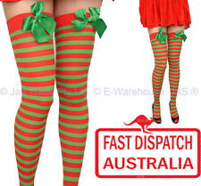 Costume Fancy Dress Thigh High Stockings Christmas Elf Red and Green Stripes
