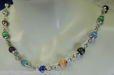 """Vintage Multi Colored Cat's Eye Sterling Silver 0.925 16"""" Necklace"""