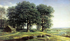 Oil painting Klodt Mikhail - Oak Wood among he river in spring landscape canvas