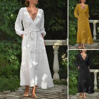 UK Womens Vintage V Neck Belted Cotton Shirt Dress Casual Loose Kaftan Size 8-26
