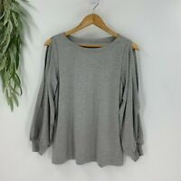 Ann Taylor Loft Womens Pullover Knit Top Cut Out Sleeves Size S Gray Shirt  NWT