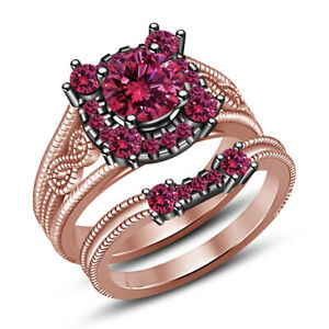 2.50 Ct Pink Sapphire Halo Women's Bridal Set Engagement Ring 14K Rose Gold Over