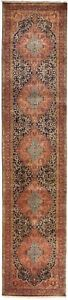 """Hand knotted Antique revival Indian runner rug. 2'10""""x 12'2"""""""