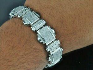 Mens 12Ct Round Cut Diamond 14K White Gold Over Tennis Chain Link Bracelet