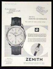 ZENITH AUTOMATIC WATCH 1957 BRITISH ADVERT