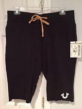 NWT True Religion Men's Sweat Shorts Horseshoe Logo Black Size Medium