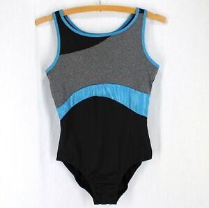 Justice Active Leotard Girls Sz 16 Black Blue Gray Racerback Dance Gymnastics