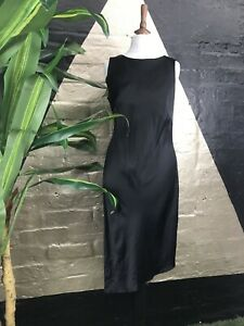 Original Vintage 1990s Slinky Polyester Black Sleeveless Midi Dress