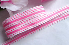 3/8 Inch GROSGRAIN/STRIPE/STITCH Ribbon white/pink price for 3 yards