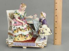 19thC Antique Royal Vienna Painted Porcelain Figurine Mother & Daughter Flowers