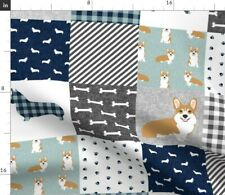 Corgi Cheater Quilt Plaid Quilting Corgis Fabric Printed by Spoonflower BTY