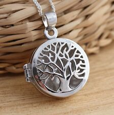 925 Sterling Silver Tree of Life Locket Pendant Necklace Jewellery Box