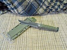 """6"""" OD Green Mini Combat Style Neck Knife Tactical  EDC Clip Point 6034"""