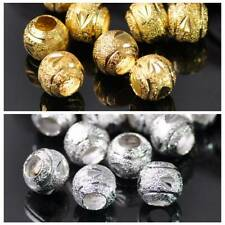 8mm 10mm Round Gold/Silver Brass Metal Loose Big Hole Beads for Jewelry Making