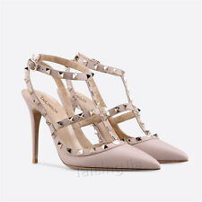 Womens Ladies Sandals Pointed Toe Slingback Heels Studs Shoes Pink Pumps Size