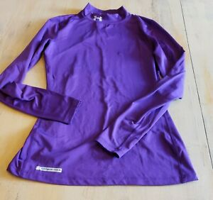 Under Armour Mock Neck Womens Cold Gear Purple Fitted Long Sleeve Shirt Sz Med
