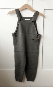 Baby Fine Knit Dungarees Grey Size 12-18 Months