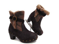 emu Inverleigh Sheepskin Heel Clog Boots US 9 Leather Shearling Lined Studded