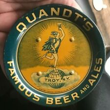 Pre-Pro Quandt Beer - Brewing Co Metal - Tin Litho Tip Tray Troy Ny New York