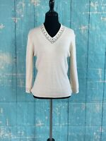 SAG HARBOR Women's Beige Crochet Wrists And V-Neck Long Sleeves Sweater Top PS