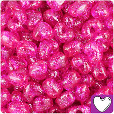 250pc Hot Pink Sparkle 12mm Heart Pony Beads Made in the USA by The Beadery