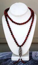 "Long 108 8mm Red Sandalwood Prayer Beads Mala Necklace -32"" with  9-eye dZi"