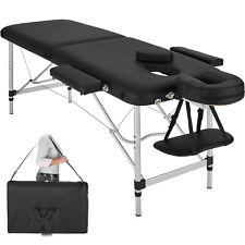 Lettino Massaggi Portatile Massaggio Alluminio Fisioterapia 2 zone nero + Borsa
