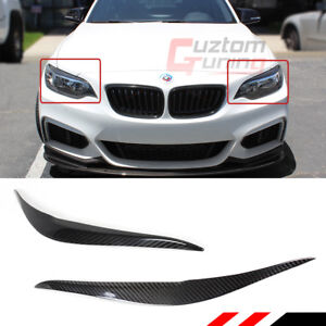 FOR 14-18 BMW 2 SERIES F22 M235i M2 CARBON FIBER HEADLIGHT EYE LID COVER EYEBROW