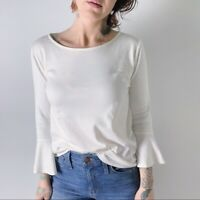 J. Crew Mercantile White Bell Sleeve Cotton T-Shirt Size Small