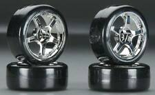 Type1 Chrome Wheels With Hard Drifting Tires 1/10th Scale 26mm (4pc) RC Drift