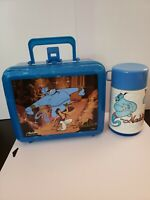 Vintage 1990's Disney Aladdin Movie Plastic Lunchbox with Thermos Some Writing