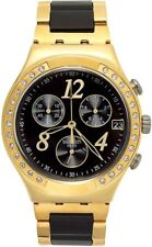 New Swatch Ladies YCG405G Chrono Dial Stainless Gold-Black Band Watch