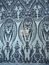 EMPIRE SEQUINS ROYAL DRESS FABRIC - Navy Blue - BY THE YARD BRIDAL ACCESSORIES