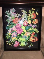 "Embroidery Floral Folk Art National Paragon Wall Picture"" Flowers Vase"""